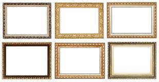 Grupo de molduras para retrato de madeira antigas douradas largas Fotos de Stock Royalty Free