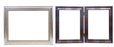 Grupo de molduras para retrato de madeira, isolado no branco Imagens de Stock
