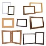 Grupo de molduras para retrato de madeira, isolado no fundo branco Imagens de Stock Royalty Free