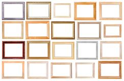 Grupo de molduras para retrato de madeira largas isoladas Imagens de Stock