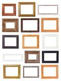 Grupo de molduras para retrato de madeira largas pequenas isoladas Imagem de Stock Royalty Free