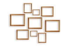 Grupo de molduras para retrato no fundo branco Fotos de Stock