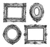Grupo de molduras para retrato tiradas mão Ícones do vetor Imagens de Stock Royalty Free
