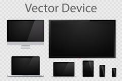 Grupo de monitores, de portáteis, de tabuletas, de tevê e de telefones celulares realísticos do computador Dispositivos eletrônic ilustração do vetor