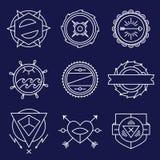 Grupo de monograma monocromático simples e gracioso ilustração royalty free