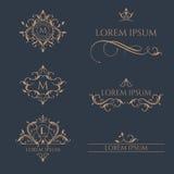 Grupo de monogramas florais e de beiras Foto de Stock