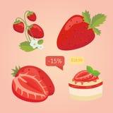 Grupo de morango isolada Ilustração dos desenhos animados da baga Ilustração do vetor Imagens de Stock