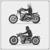 Grupo de motocicletas Emblemas do clube dos motociclistas Estilo do vintage Imagem de Stock