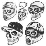 Grupo de motociclista e de motosport do leme do crânio Imagens de Stock Royalty Free