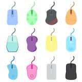 Grupo de mouses do computador do ícone com cor colorida e muitas formas usa-se para a tecnologia, a venda, o projeto da casa e o  fotografia de stock royalty free