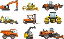 Grupo de máquinas da construção pesada isoladas Fotografia de Stock Royalty Free