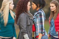 Grupo de muchachas confrontacionales del adolescente Foto de archivo