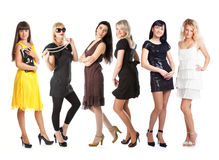Grupo de muchachas en alineadas Imagen de archivo libre de regalías