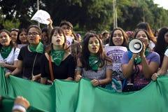 Grupo de muchachas en la marcha para el día de la mujer imagen de archivo libre de regalías