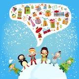 Grupo de muchachos y de muchachas del niño-invierno ilustración del vector