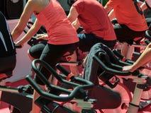 Grupo de muchachos y de muchachas en el gimnasio: Entrenamiento con las bicis de giro Foto de archivo libre de regalías
