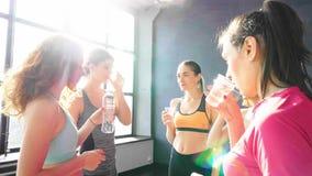 Grupo de mujeres después de entrenar el agua de la bebida almacen de video