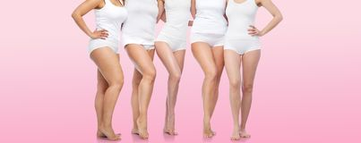 Grupo de mujeres diversas felices en la ropa interior blanca Imágenes de archivo libres de regalías