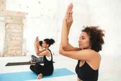 Grupo de mujeres jovenes que hacen la yoga que estira ejercicios imagen de archivo