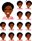 Grupo de mulher afro-americano diferente do avatar no estilo liso colorido Foto de Stock Royalty Free