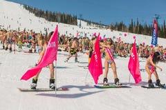 Grupo de mulheres bonitas felizes novas em um snowboard no biquini colorido com bandeiras Fotos de Stock