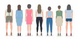 Grupo de mulheres da parte traseira ilustração do vetor