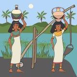 Grupo de mulheres egípcias antigas perto do canal de água ilustração royalty free