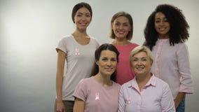 Grupo de mulheres em camisas cor-de-rosa com as fitas do câncer da mama que olham na câmera video estoque