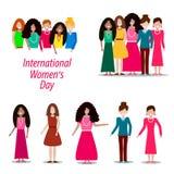 Grupo de mulheres de nacionalidades diferentes ilustração stock