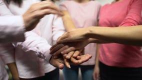 Grupo de mulheres nas camisas cor-de-rosa que unem as mãos, igualdade de gênero, feminismo filme
