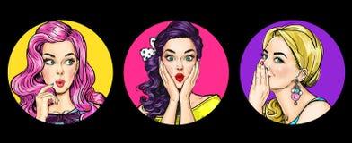 Grupo de mulheres surpreendidas no estilo do pop art Meninas da bisbolhetice com uau a cara ilustração do vetor