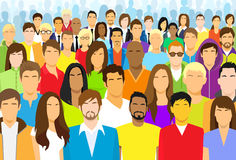Grupo de multidão grande da cara ocasional dos povos diversa Fotos de Stock Royalty Free
