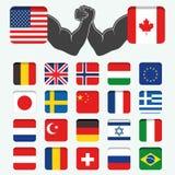 Grupo de mundo redondo das bandeiras Foto de Stock Royalty Free