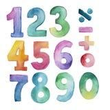Grupo de número da aquarela de um a nove e a zero Imagem de Stock Royalty Free