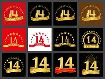 Grupo de número quatorze 14 anos de projeto da celebração Elementos dourados do molde do número do aniversário para sua festa de  ilustração stock