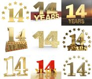 Grupo de número quatorze anos projeto de uma celebração de 14 anos Elementos dourados do molde do número do aniversário para sua  ilustração stock