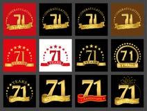 Grupo de número seventy-one 71 anos de projeto da celebração Elementos dourados do molde do número do aniversário para sua festa  ilustração do vetor