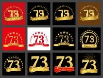 Grupo de número seventy-three 73 anos de projeto da celebração Elementos dourados do molde do número do aniversário para sua fest ilustração do vetor