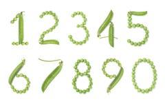 Grupo de números com ervilhas verdes Fotos de Stock