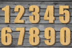 Grupo de números de madeira Imagens de Stock