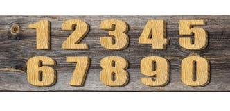 Grupo de números de madeira Fotografia de Stock