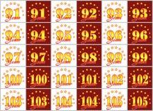 Grupo de números do ouro de 91 a 105 e da palavra do ano decorado com um círculo das estrelas Ilustração do vetor Imagem de Stock
