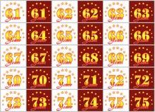 Grupo de números do ouro de 61 a 75 e da palavra do ano decorado com um círculo das estrelas Ilustração do vetor Imagem de Stock Royalty Free