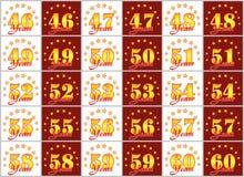 Grupo de números do ouro de 46 a 60 e da palavra do ano decorado com um círculo das estrelas Ilustração do vetor Imagem de Stock Royalty Free