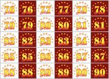 Grupo de números do ouro de 76 a 90 e da palavra do ano decorado com um círculo das estrelas Ilustração do vetor Traduzido de Imagem de Stock Royalty Free