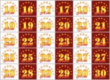Grupo de números do ouro de 16 a 30 e da palavra do ano decorado com um círculo das estrelas Ilustração do vetor Traduzido de Imagem de Stock Royalty Free