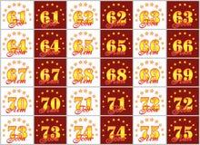 Grupo de números do ouro de 61 a 75 e da palavra do ano decorado com um círculo das estrelas Ilustração do vetor Traduzido de Imagem de Stock