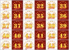 Grupo de números do ouro de 31 a 45 e da palavra do ano decorado com um círculo das estrelas Ilustração do vetor Traduzido de Imagem de Stock