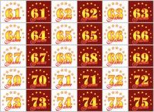 Grupo de números do ouro de 61 a 75 e da palavra do ano decorado com um círculo das estrelas Ilustração do vetor Traduzido de Fotografia de Stock