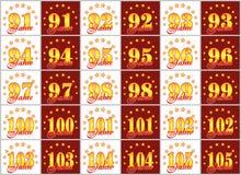 Grupo de números do ouro de 91 a 105 e da palavra do ano decorado com um círculo das estrelas Ilustração do vetor Traduzido de Imagem de Stock Royalty Free